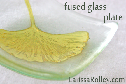 fused glass ginkgo plate