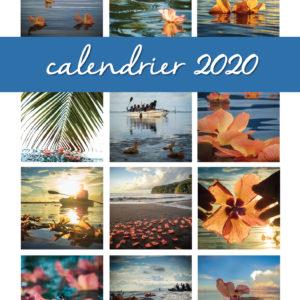 2020 Calendrier –  Fleur de purau – Polynésie Française – Tahiti – Hibiscus.  In French