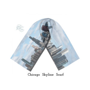 Chicago Skyline Silk Scarf